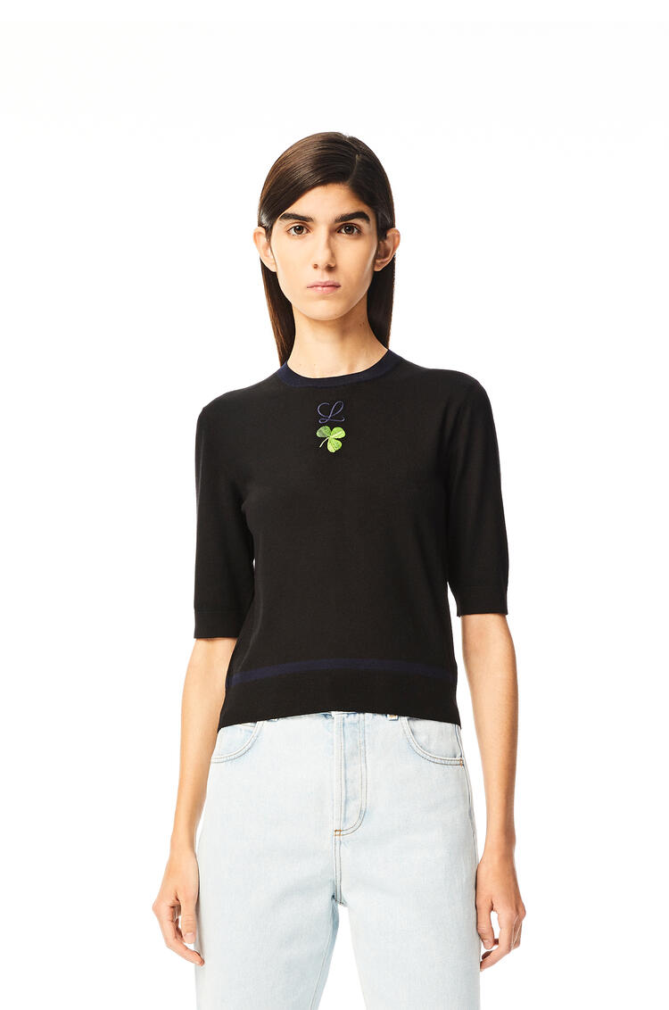LOEWE Shamrock embroidered cropped sweater in wool Black pdp_rd