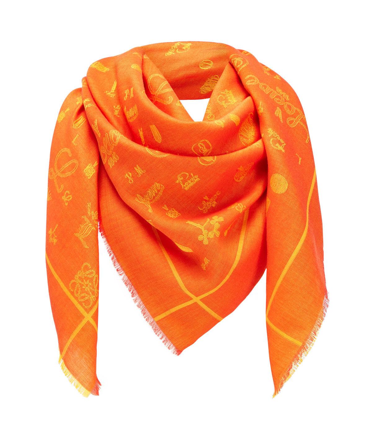 LOEWE 140X140 Scarf Logos Naranja all