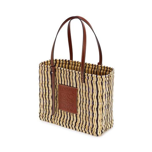 LOEWE Square Basket Bag In Reed And Calfskin Natural/Black/Pecan front