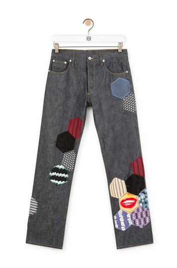 LOEWE 5 Pocket Jeans Patches Navy Blue/Multicolor front