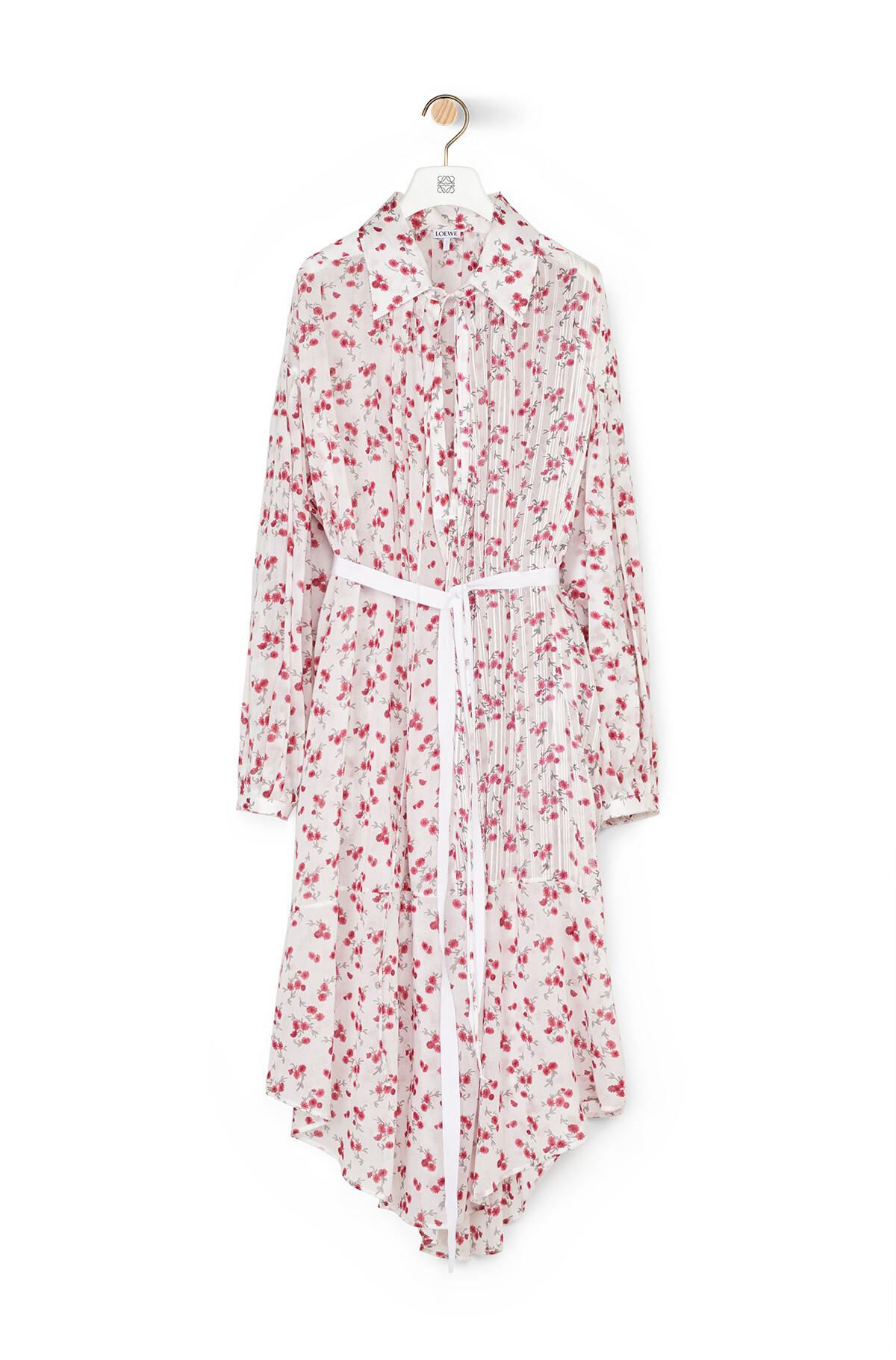 LOEWE Flower Print Shirtdress Blanco/Rosa front