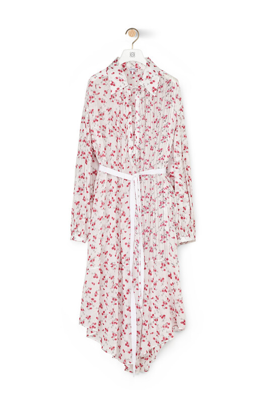 LOEWE Flower Print Shirtdress White/Pink front