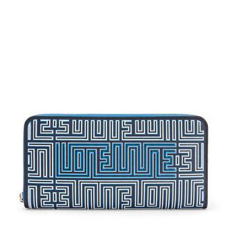 LOEWE Maze Zip Around Wallet Midnight Blue/Fluo Blue front