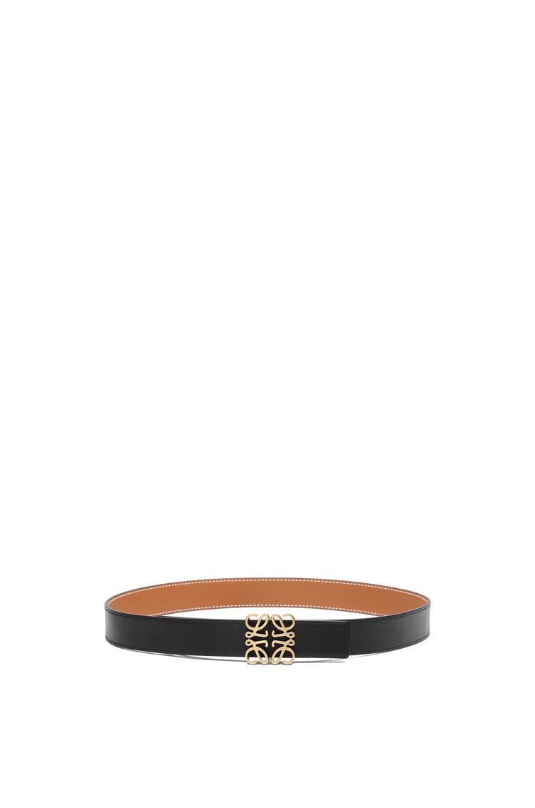 LOEWE Anagram belt in soft grained calfskin Tan/Black/Old Gold pdp_rd
