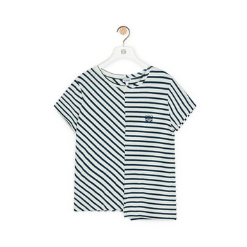 LOEWE Stripe Asymmetric T-Shirt Navy/White front