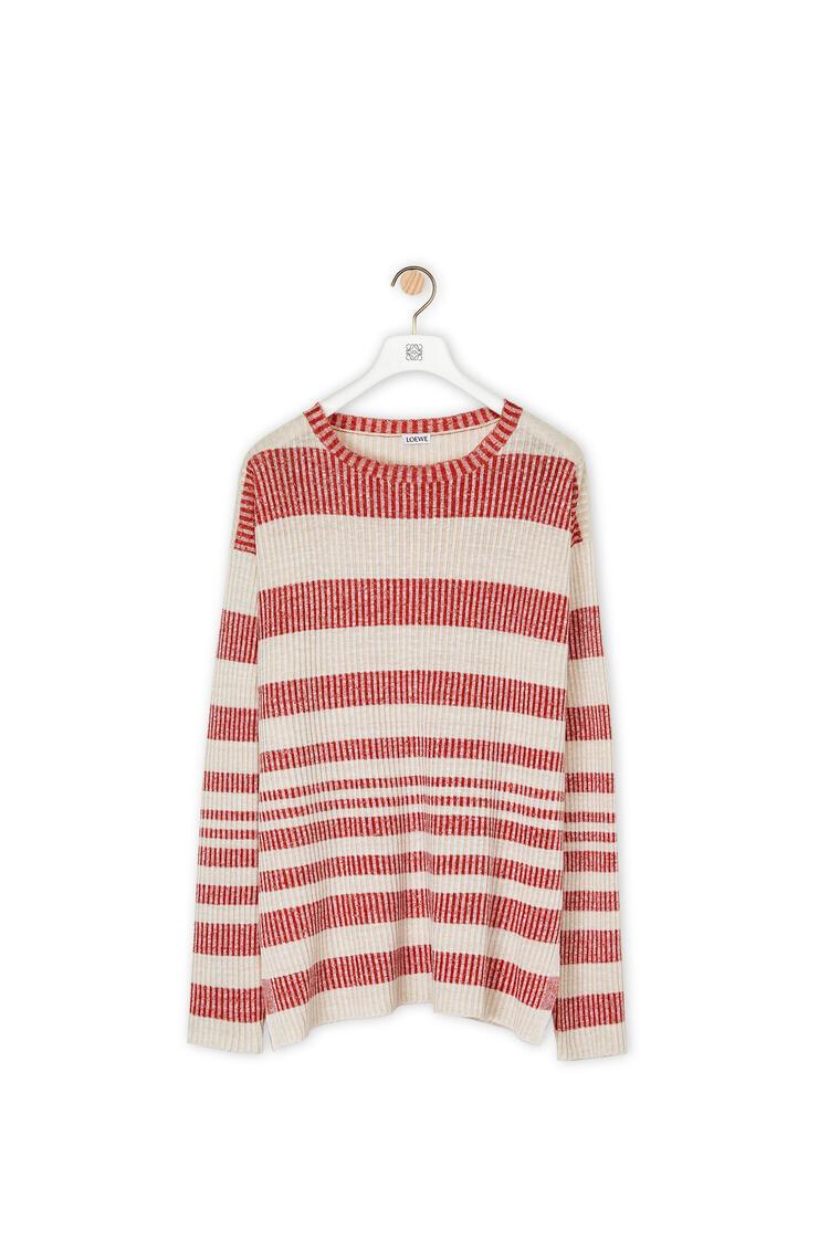 LOEWE Rib sweater in striped linen Beige/Red pdp_rd