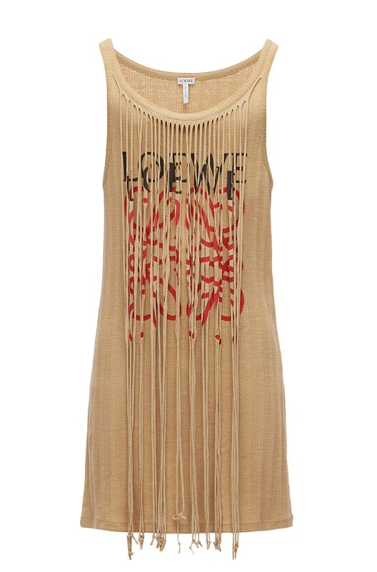 LOEWE Long Tank Top Anagram Fringes Beige front