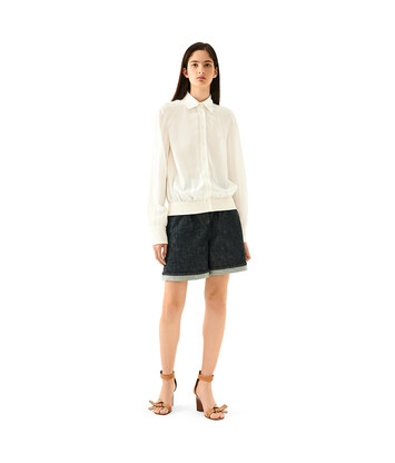 LOEWE Ribbed Cuff Blouse Blanco front