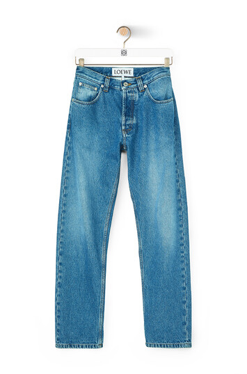 LOEWE 5 Pocket Jeans Flower Emb Denim Lavado front