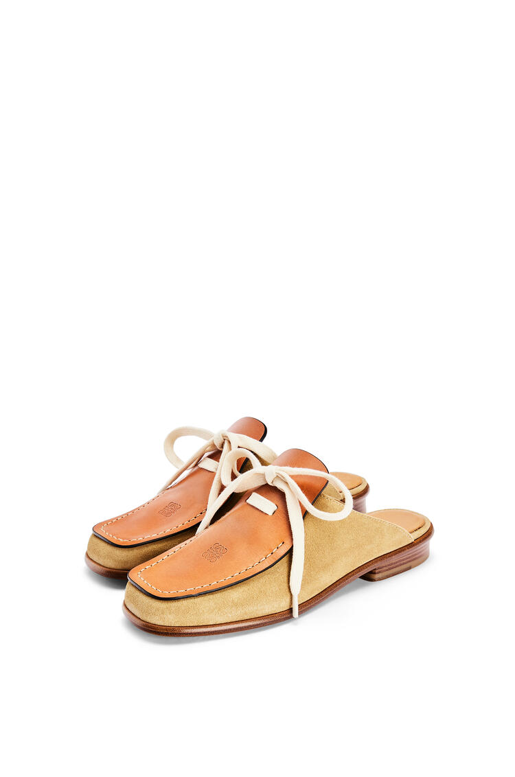 LOEWE Lace up mule in suede and calfskin Camel/Gold pdp_rd