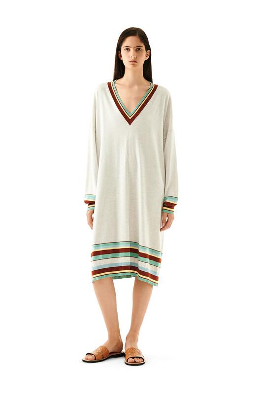 LOEWE Stripe V Neck Sweater Dress Ecru/Multicolor front
