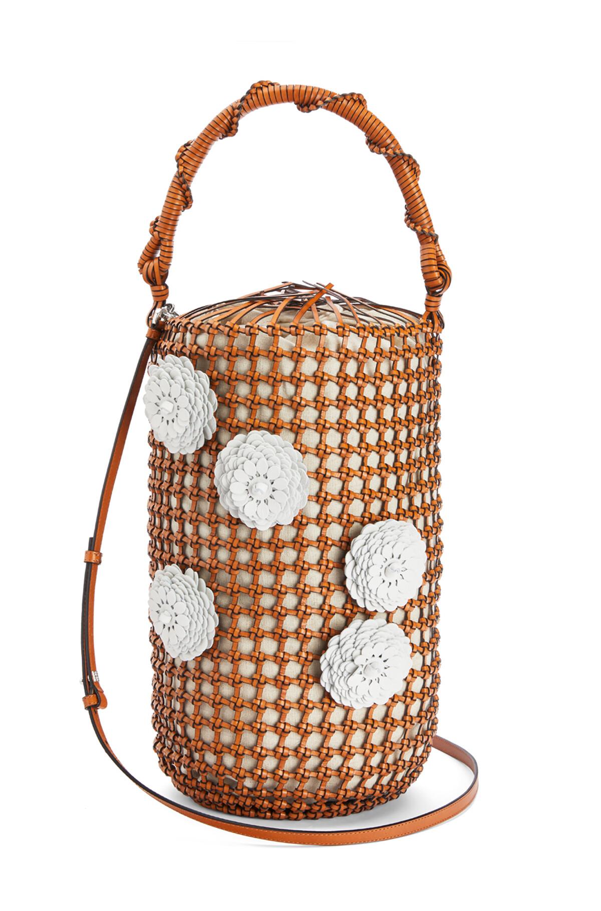 LOEWE Bucket Mesh Flower Bag Tan front