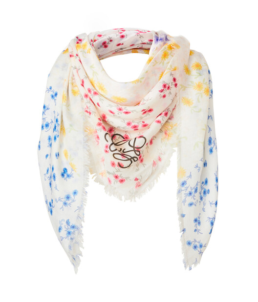 LOEWE 140X140 Flower Patchwork Scarf Multicolor front