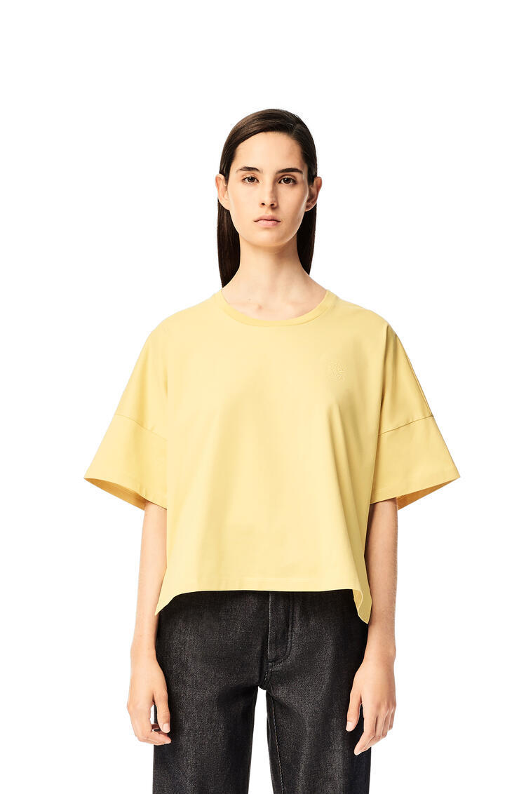 LOEWE Anagram embroidered cropped t-shirt in cotton Light Yellow pdp_rd