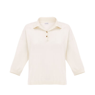 LOEWE Short Poloneck Sweater Off-White front