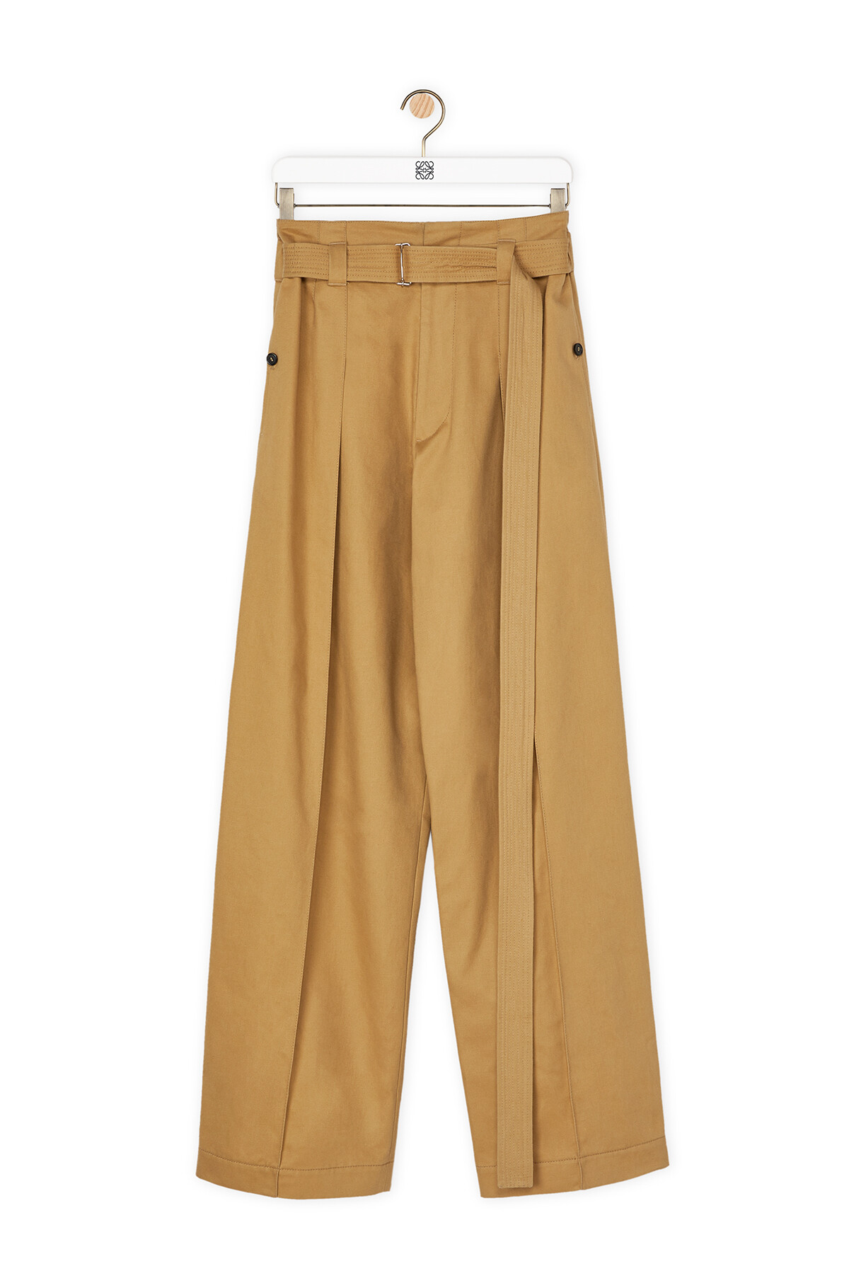 LOEWE Belted Trousers Beige front