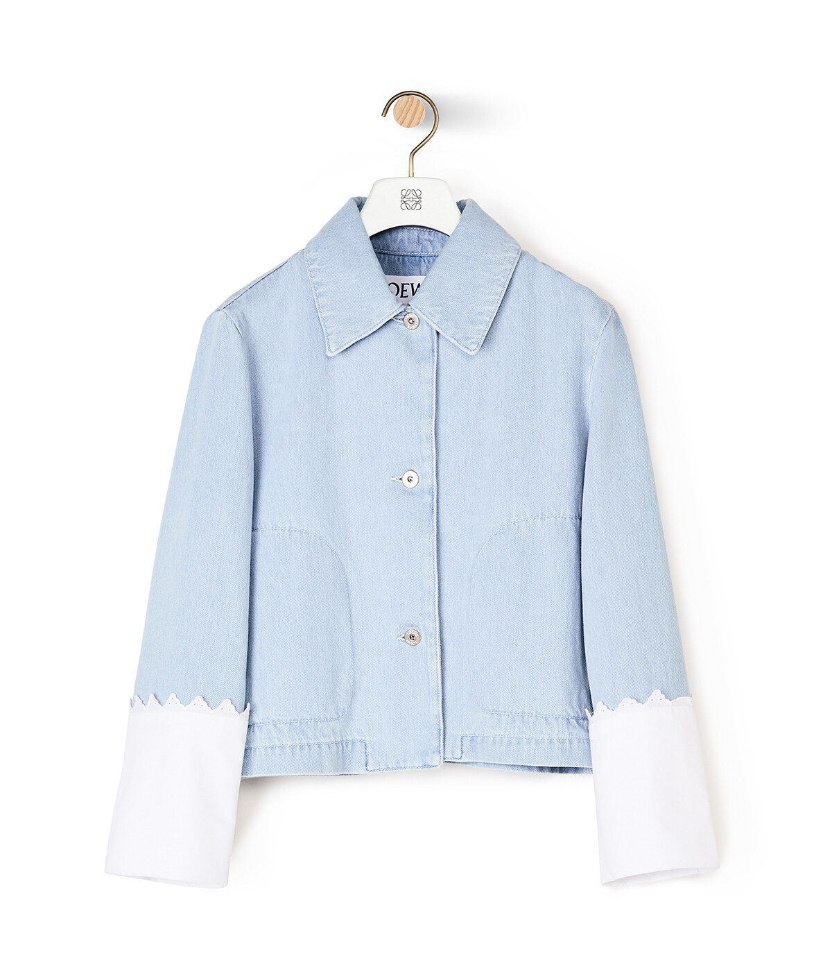 LOEWE Denim Jacket Embroidered Cuffs Azul Claro front
