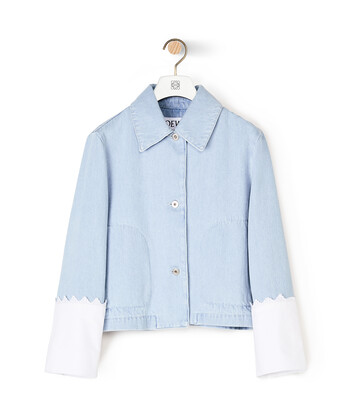 LOEWE Denim Jacket Embroidered Cuffs Light Blue front