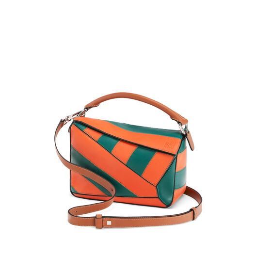 LOEWE Puzzle Rugby Small Bag Orange/Green front