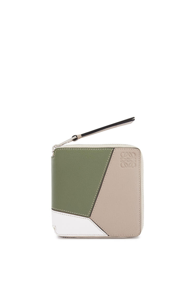 LOEWE Puzzle squared zip wallet in classic calfskin Sand/Avocado Green pdp_rd