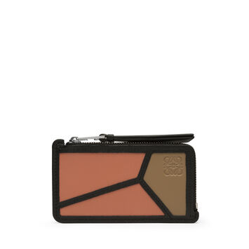 LOEWE Puzzle Coin Cardholder Pink Tulip/Mocca front