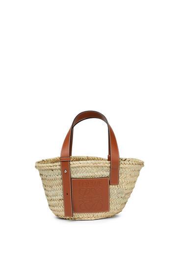 LOEWE Small Basket bag in palm leaf and calfskin Natural/Tan pdp_rd
