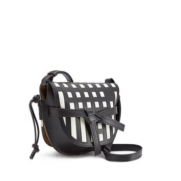 LOEWE Gate Grid Small Bag 黑色/白色 front