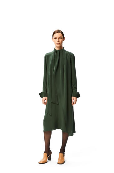 LOEWE Lavalliere midi dress in silk Forest Green pdp_rd