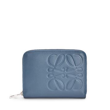 LOEWE Brand 6 Card Zip Wallet Steel Blue front