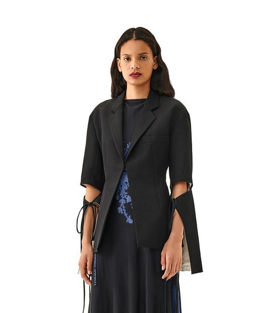 LOEWE Tie Cut Panel Sleeve Jacket Black/White front