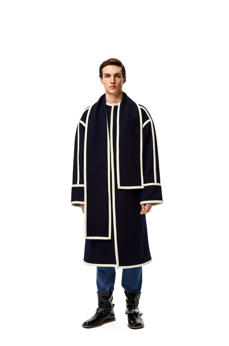 LOEWE Scarf coat in wool jacquard Navy/White pdp_rd