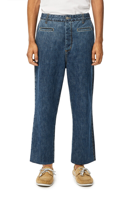 LOEWE Cropped Fisherman Trousers Indigo front