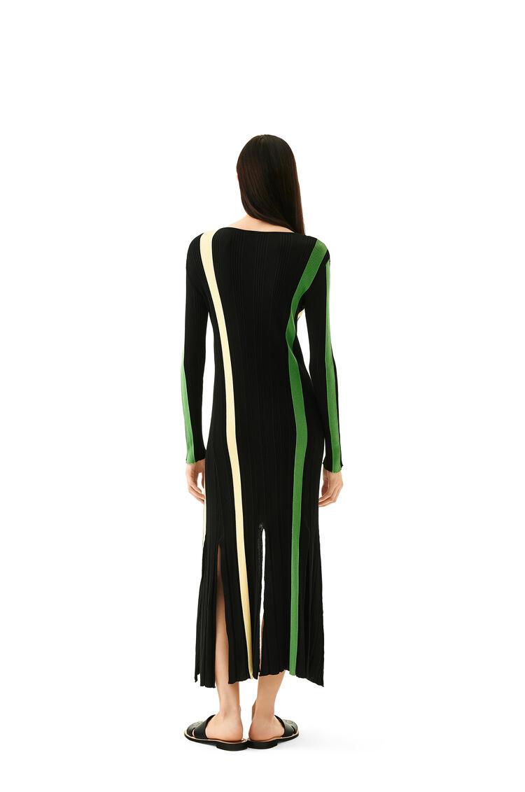 LOEWE Rib knit dress in stripped cotton Yellow/Black pdp_rd