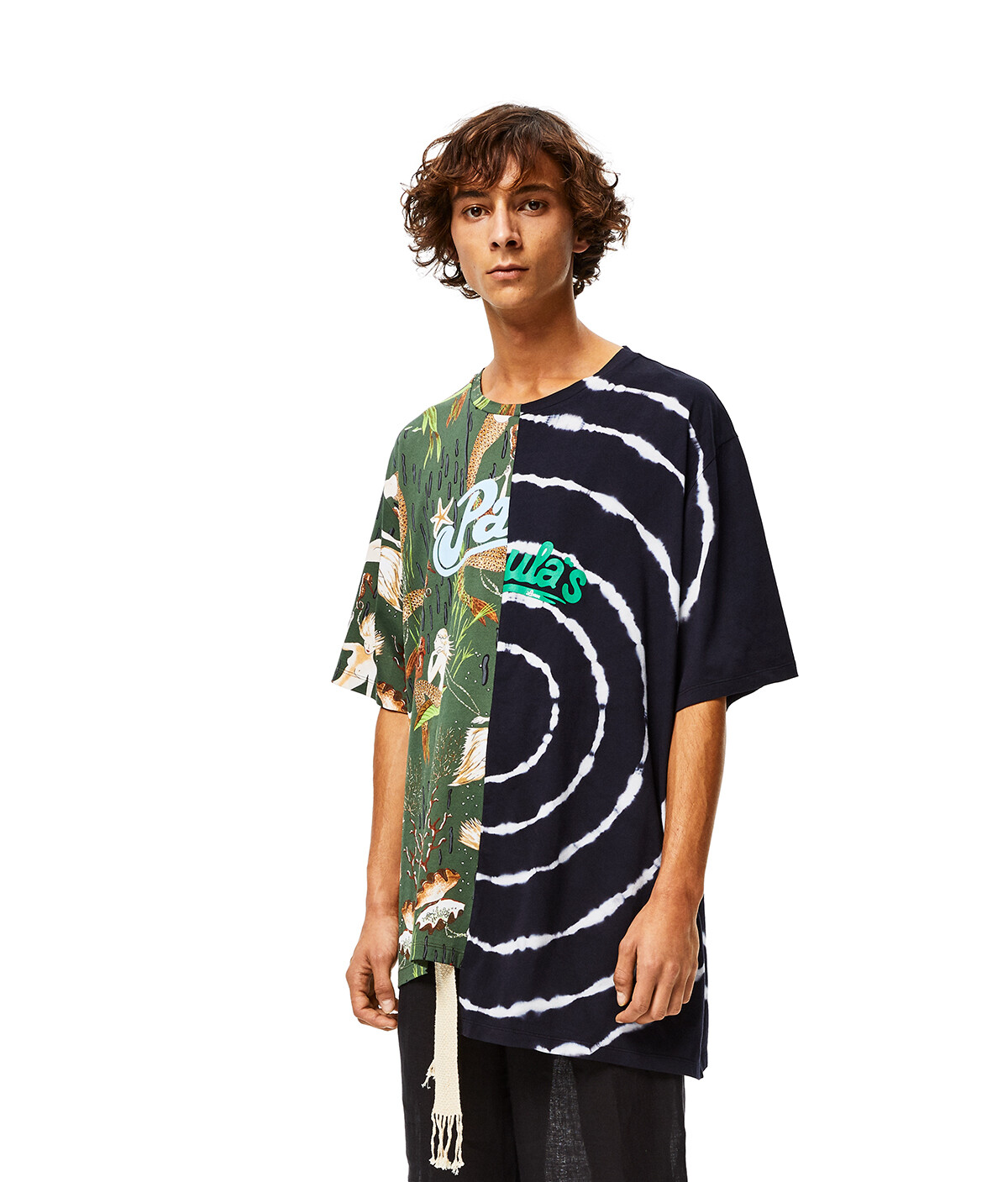 LOEWE Asymmetric Oversize T-Shirt In Cotton Multicolor/Navy front