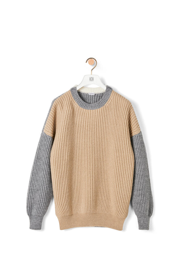 LOEWE Oversized ribbed sweater in acrylic and alpaca Beige/Grey pdp_rd