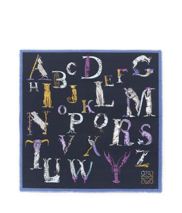 LOEWE 140X140 スカーフ アルファベット ネイビーブルー front