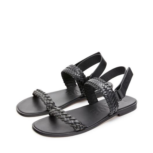 LOEWE Braided Sandal In Calfskin Black front