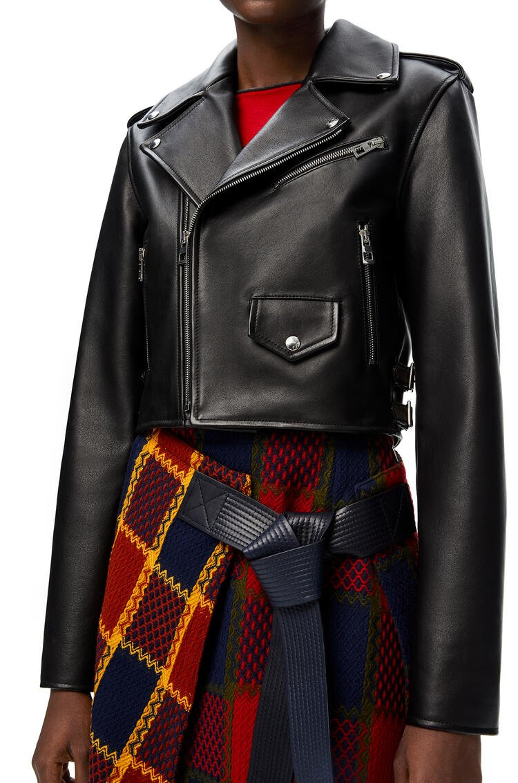 LOEWE Cropped biker jacket in nappa Black pdp_rd