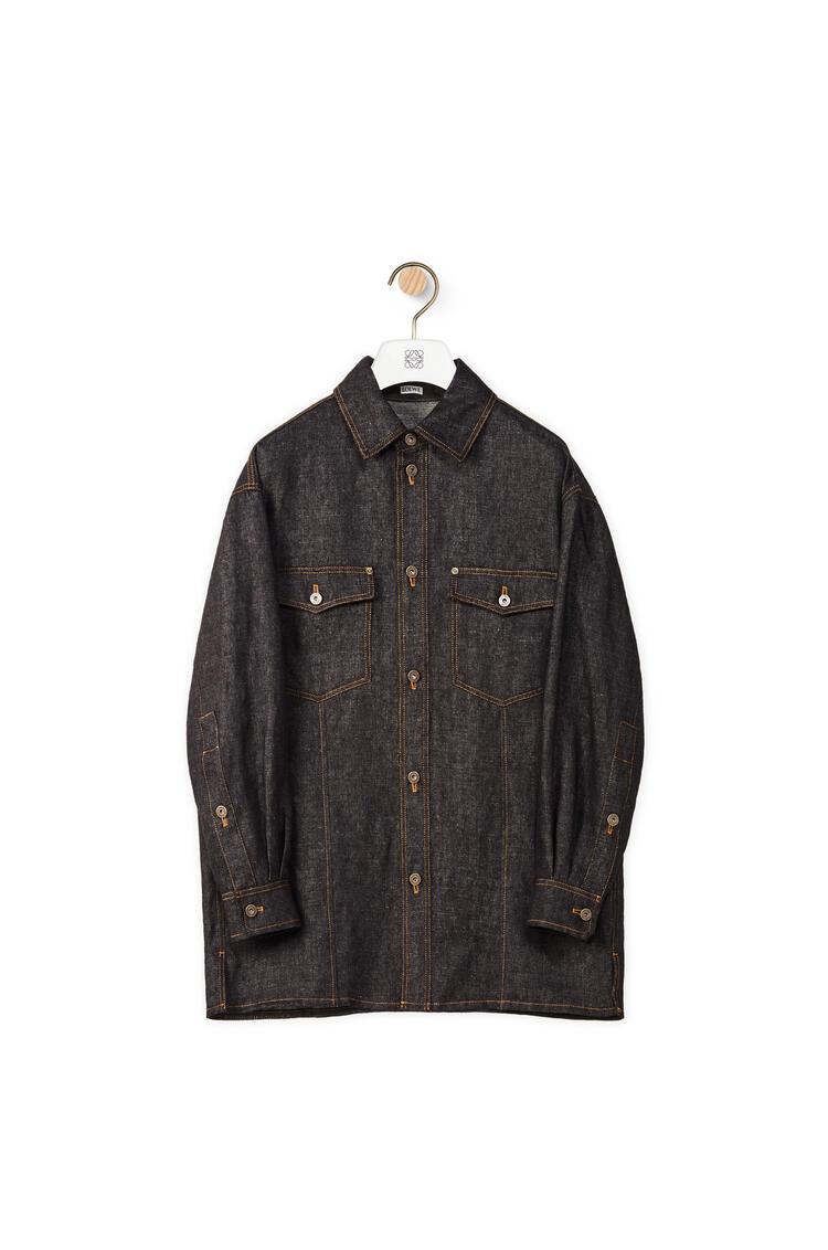 LOEWE 棉质挂毯拼接衬衫外套 黑色 pdp_rd