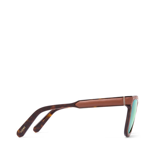 LOEWE Square Padded Sunglasses Brown/Mirror Green all
