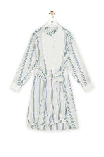 LOEWE Stripe Silk Shirtdress Navy/White front