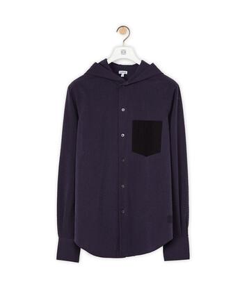 LOEWE Hooded Shirt Navy Blue/Black front