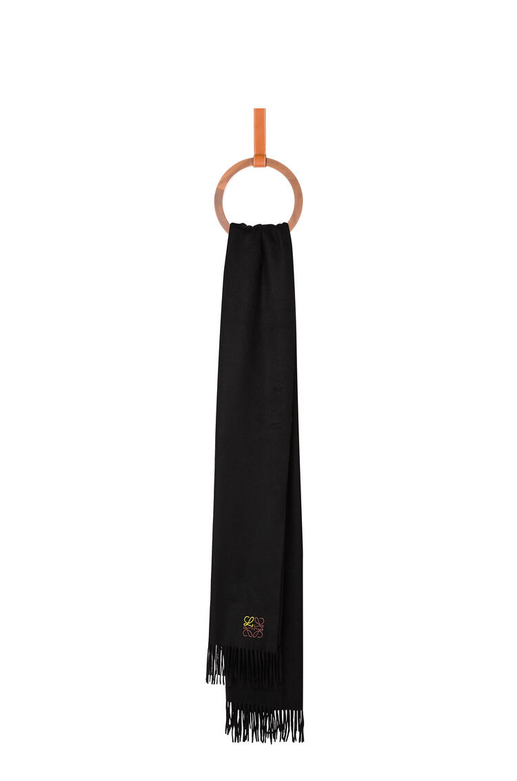 LOEWE Bufanda Anagrama de 70 x 200 cm en cashmere Negro pdp_rd