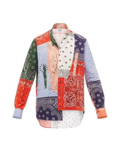 LOEWE Asym Shirt Bandana Patchwork Multicolor front