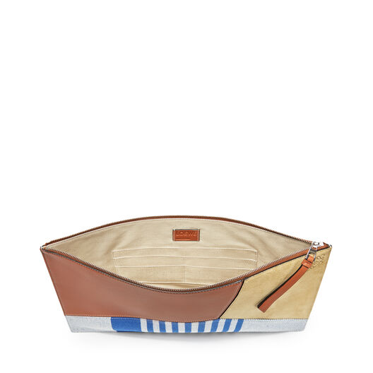 LOEWE Puzzle Large Flat Pouch Stripe Pacific Blue/Multicolor front