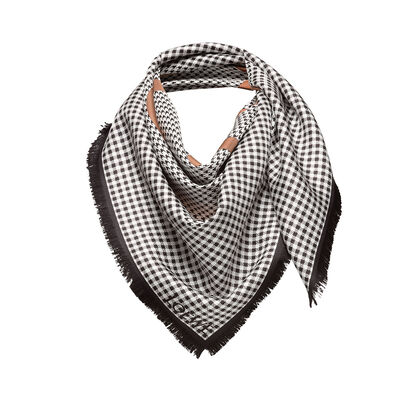 LOEWE 90X90 Scarf Check Anagram White/Tan/Black front