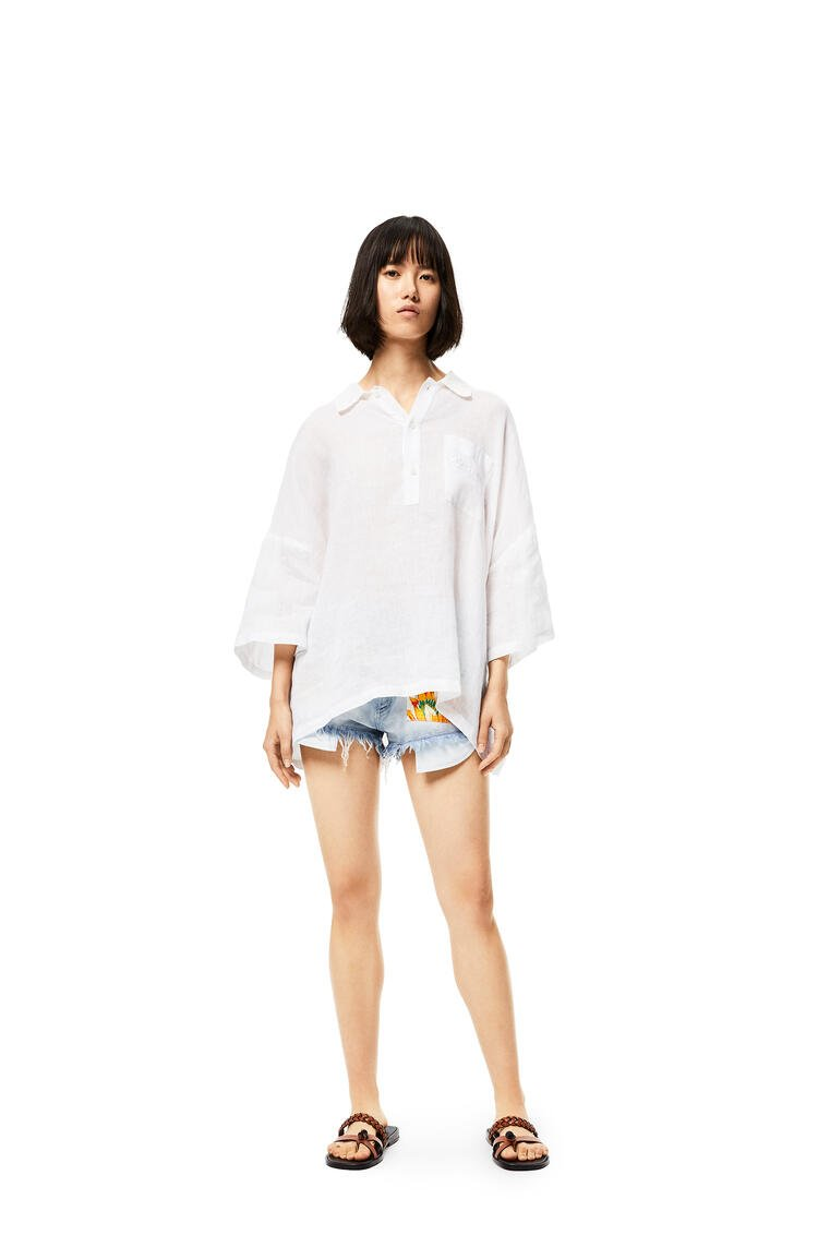 LOEWE Polo collar top in linen White pdp_rd