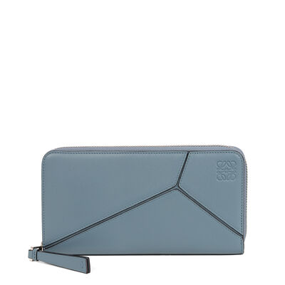 LOEWE Puzzle Zip Around Wallet Stone Blue front