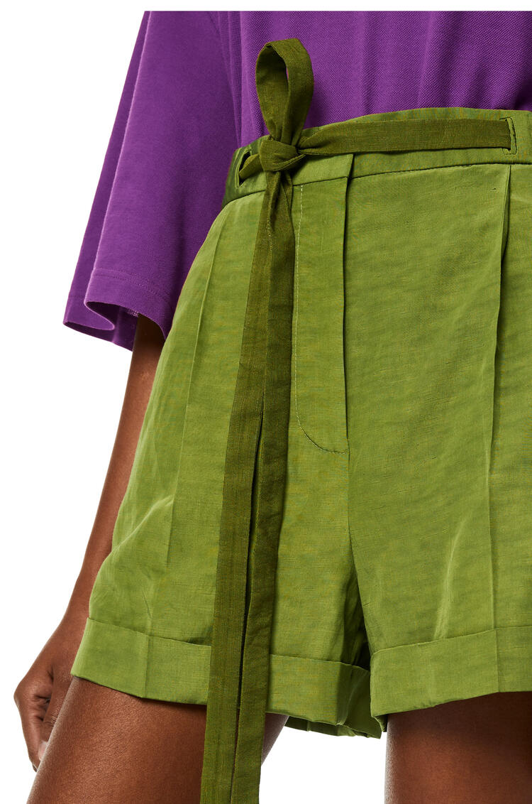 LOEWE Belted shorts in linen Pesto pdp_rd