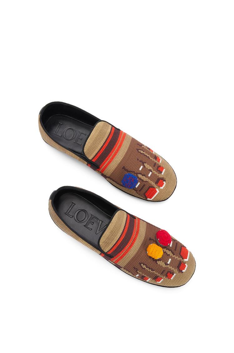 LOEWE Slipper In Embroidery Suede Sand/Brown pdp_rd